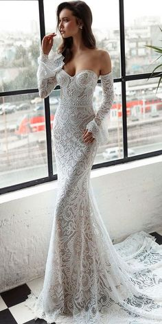 36 Totally Unique Fashion Forward Wedding Dresses  fashion forward wedding dresses sheath sweetheart lace long sleeves with train trendy julie vino  See more: www.weddingforwar... #weddingforward #wedding #bride #wedding #weddingdresses #bridal #bridaldresses