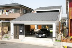 Cool House Designs, Modern House Design, Garage Design, Exterior Design, Japan Modern House, Container House Design, Parking Design, Garage House, House Layouts