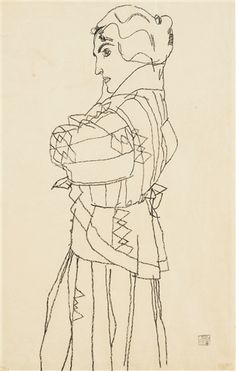 Egon Schiele - FRIEDERIKE MARIA BEER; Creation Date: 1914; Medium: Black crayon on paper; Dimensions: 48.26 X 31.12 cm.