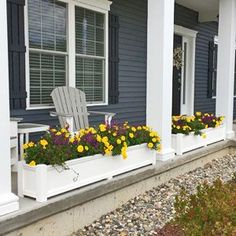 Cape Cod Planters between porch columns