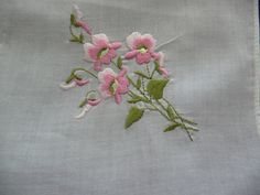 Vintage Ladies Hanky or Handkerchief in Beautiful White featuring Pink, White and Green, Embroidered Flowers in one corner by SouthWestConcepts on Etsy