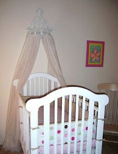 Canopy ideas on pinterest canopies cribs and vintage for Diy canopy over crib
