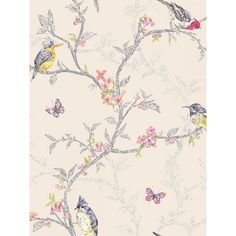 this stunning Phoebe Birds Wallpaper in cream will look fantastic when used as a feature wall or to decorate a whole room. FREE UK P+P available