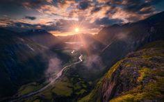 Lataa kuva vuoret, sunset, illalla, valley, Norja, Litlefjell, Romsdalen