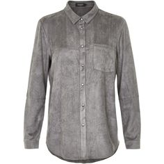 Soaked in Luxury Faux Suede Shirt ($80) ❤ liked on Polyvore featuring tops, clearance, grey, gray collared shirt, grey collared shirt, collar top, faux suede top and grey shirt