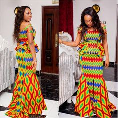 "Cuts of Kente wedding dress styles brings out true beauty and sensuality of each woman, as she fulfills her title as an ""African Queen. African Dresses For Women, African Print Dresses, African Attire, African Fashion Dresses, African Wear, African Prints, African Clothes, African Inspired Fashion, African Print Fashion"