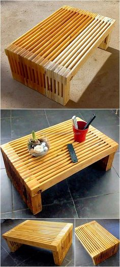 Let's craft this unique design wooden pallets artistic table for your place. This is the most stylish-looking recycled wooden pallets table that we have artistically crafted to increase the beauty of your place with its beautiful appearance. Wooden Pallet Table, Wooden Pallet Projects, Woodworking Projects Diy, Wooden Pallets, Wooden Diy, Diy Projects, Project Ideas, Pallet Tables, Pallet Ideas
