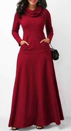 Cowl Neck Wine Red Long Sleeve Maxi Dress