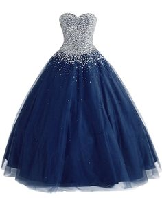 MerryJuly Women's Tulle Ball Gown Sweet 16 Prom Quinceanera Dresses 2017 (Size 2, Navy Blue)