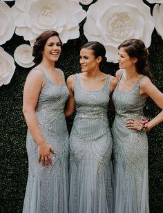 gray sequin bridesmaid dresses