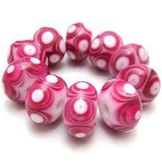 Glass Lampwork Beads Bright Rose Pink and White Dot Beads Handmade Lampwork Glass