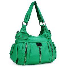Scarleton 3 Front Zipper Washed Shoulder Bag zipper closure H1292   eNew Style