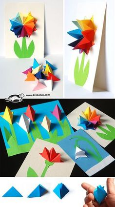 Paper flowers done in krokotek origami. Gorgeous inside cards or outside on card face. Watch the video😉 Origami Paper, Diy Paper, Paper Art, Paper Crafts, Kids Crafts, Craft Projects, Arts And Crafts, Paper Flowers Diy, Flower Crafts