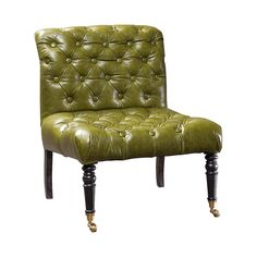 Bring rich English traditionalism to your decor with this exceptional Middlebury Tufted Leather Accent Chair. Delivering an intense olive green leather upholstery, this armless chair features classic d...  Find the Middlebury Tufted Leather Accent Chair, as seen in the #UrbanForager Collection at http://dotandbo.com/collections/urbanforager?utm_source=pinterest&utm_medium=organic&db_sku=102578