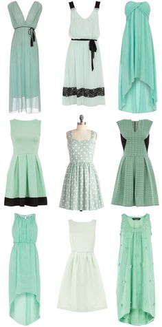 mismatched mint green dresses, longer for ERIN shorter for LAURA and EMILY (minus black accents, substitute cream)