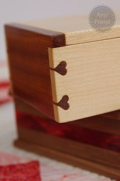 """During Quiet Time: Lovetails Dovetails for joining the wood are hearts - """"lovetials"""". Hand-made by her husband"""