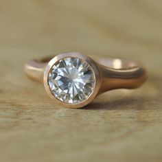 One Carat Moissanite Solitaire Ring in Brushed Rose Gold