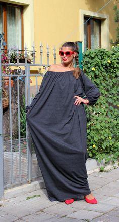 Plumbaginous Oversized Maxi Plus size XXXL caftan dress/fall winter / day dress / party dress on Etsy, £48.43