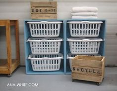 Laundry Room storage, basket for each person