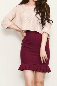 Fishtail Pleats Pencil Skirt : The Art of Vintage-inspired & Cute Women's Clothing | Larmoni