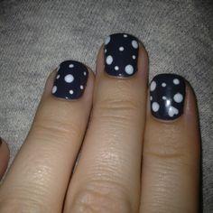 Shellac nails with polka dots and a hidey heart!