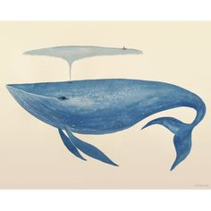 FREE SHIPPING! Shop Wayfair for Wheatpaste Art Collective Big Blue Whale by Sana Park Painting Print on Wrapped Canvas - Great Deals on all Decor products with the best selection to choose from!
