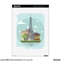 paris eiffel tower travel art decal for iPad 3