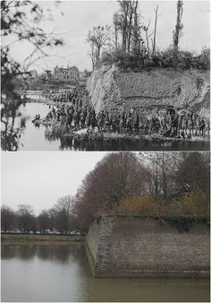 Ypres then and now … 11 November 1917: Soldiers stand at the ramparts in Ypres, Belgium, during the first world war. The town was reduced to ruins during the four years of the war as it held a strategic position on the route of the German advance into France, the Schlieffen Plan. December 2013: the scene today. In 1920, the decision was made to rebuild Ypres exactly as it was before the war with its medieval and renaissance architecture reconstructed and its remaining fortifications restored...