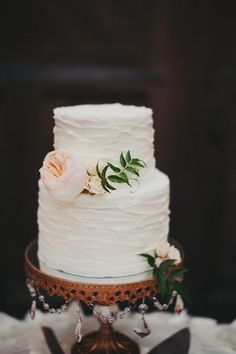 Delicate two-tiered wedding cake - Firestone Winery Wedding