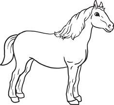 Farm Animal Coloring Pages, Preschool Coloring Pages, Coloring Book Pages, Coloring Pages For Kids, Coloring Sheets, Horse Template, Free Horses, Horse Camp, Horse Drawings