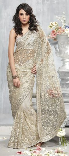65331, Party Wear Sarees, Bridal Wedding Sarees, Net, Machine Embroidery, White and Off White Color Family