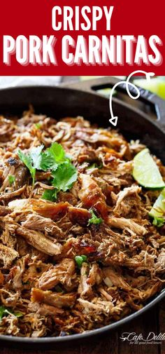 Crispy Pork Carnitas are a seasoned Mexican pork that is great for stuffing flour or corn tortilla shells with all the fixings. Or make quesadillas with the meat, burritos, and more. Full of rich flavor in every crispy skinned bite. #pork #carnitas #mexican #easy #favorful #best #recipe Mexican Dishes, Mexican Food Recipes, Dinner Recipes, Ethnic Recipes, How To Make Quesadillas, Slow Cooked Pulled Pork, Tortilla Shells, Crispy Pork, Carnitas