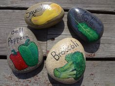 Items similar to Hand Painted Stone Vegetable Garden Markers - Set of 3 on Etsy Pebble Painting, Pebble Art, Stone Painting, Rock Painting Supplies, Rock Painting Ideas Easy, Stone Crafts, Rock Crafts, Vegetable Garden Markers, Hand Painted Rocks