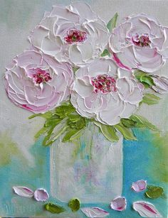 Pale Peonies Oil Painting Peony Impasto Oil by KenziesCottage