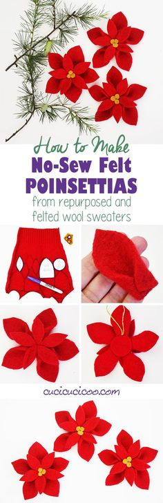 Felt your old wool sweaters in the washing machine and turn them into a no sew felt poinsettia! All it takes are scissors and a glue gun for this easy and festive holiday decoration! #feltedsweaters #diypoinsettia Felt Crafts, Easy Crafts, Diy And Crafts, Crafts For Kids, Upcycled Crafts, Holiday Crafts, Christmas Crafts, Christmas Decorations, Christmas Ornaments
