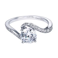 14K White Gold Contemporary Bypass Engagement Ring   Wow!  How very different!