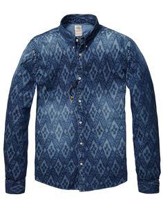 Button Down Denim Shirt > Mens Clothing > Shirts at Scotch & Soda Denim Shirt Men, Denim Jeans, Denim Jacket With Dress, Estilo Jeans, Jean Shirts, Denim Fashion, Casual Shirts For Men, Shirt Outfit, Indigo