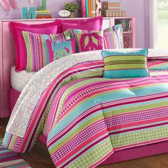 Furniture Bedroom. Wonderful Bedspreads For Teens Inspiring Design. Cute Assorted Color Modern Bedspreads For Teens Interior Design Feature Brown Laminated Wooden Floor And Purple Wall Plus Pink Laminated Wooden Headboard With Shelf Together With Pink Bed And Also Assorted Color Striped Pattern Bed Cover Plus Pink Pillow And Also Assorted Color Striped Pattern Pillows And Also Assorted Color Striped Pattern Rug. Bedspreads For Teens
