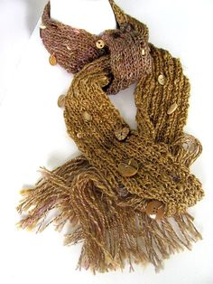 Golden Chocolate Button Scarf by AllAboutTheFiber on Etsy, $35.00