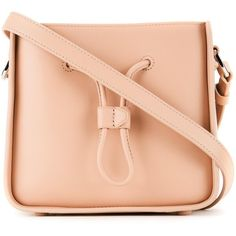 "3.1 Phillip Lim ""Soleil"" Mini Bucket ($575) ❤ liked on Polyvore featuring bags, handbags, shoulder bags, beige, red handbags, leather shoulder bag, leather handbags, mini handbags and bucket purse"