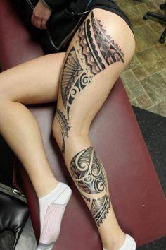 Maori tribal thigh/leg tattoo #samoan #tattoo