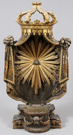 PARCEL GILT & CARVED WOOD RELIGIOUS SHRINE