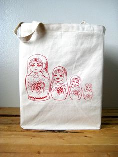 Screen Printed Recycled Cotton Grocery Shopper by ohlittlerabbit, $17.50
