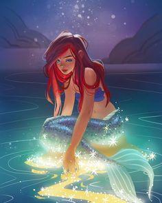 """ThinkAnneThink on Instagram: """"Disney fan art of #littlemermaid 🥰 It's one of those scenes that gave me goosebumps when i was a kid. #disneyfanart #mermaidart #ariel…�"""