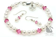 Express your love with heart and style with this handmade pink crystal and pearl beaded bracelet and jewelry earrings set featuring a BE MINE conversation heart charm.
