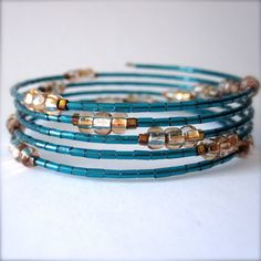 Memory Wire Bracelet Teal Blue Glass Beads The by PaganucciDesigns, $16.00
