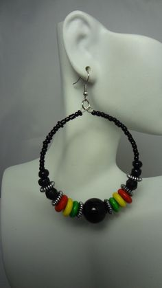 Black Beaded Rasta Hoop Earrings