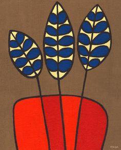 'Burlap Botanical Delphinium Orange' by Lisa DeJohn Painting Print on Wrapped Canvas