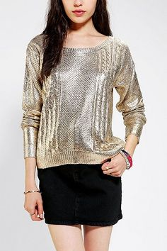 stay warm and sparkle with this metallic sweater #NYE