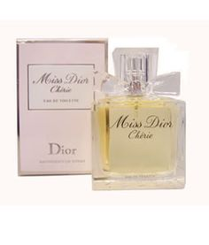 Christian Dior Miss Dior Cherie EDP spray for women is a very bright and lovely fragrance introduced in 2005. The scent is brightened by wild strawberry sherbet, crystalline musk, patchouli and caramel popcorn. The peach-colored perfume is housed in a glass bottle with a chunky bow. Miss Dior, Glass Bottles, Perfume Bottles, Christian Dior Perfume, Wild Strawberries, Fragrance, Peach, Popcorn, Caramel